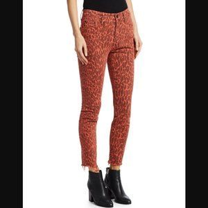 Mother The Looker Ankle Fray Leopard Skinny Jeans